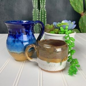 Pottery Dining - 🌵Set of 2 Artisan Glazed Pottery Mugs Blues Brown